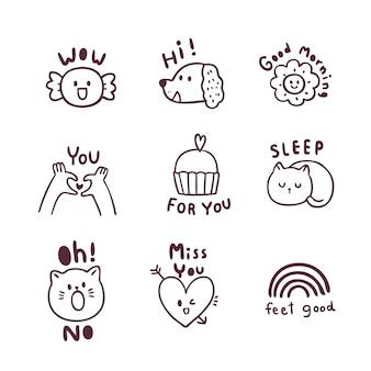 Insieme sveglio di doodle dell'icona del fumetto