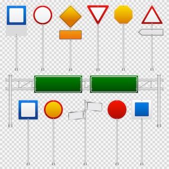 Insieme trasparente di colore dei segnali stradali