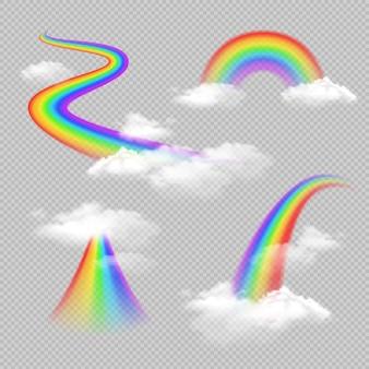 Insieme trasparente realistico dell'arcobaleno colorato luminoso isolato