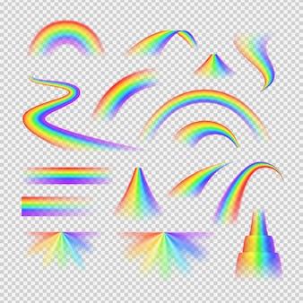 Insieme trasparente realistico di spettro luminoso dell'arcobaleno isolato