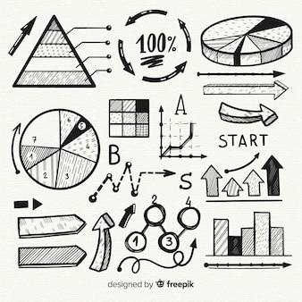 Insieme variopinto degli elementi di infographics disegnati a mano