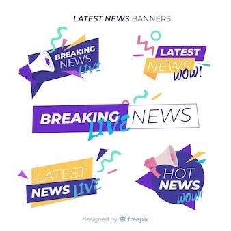 Insieme variopinto della bandiera di notizie di forme geometriche