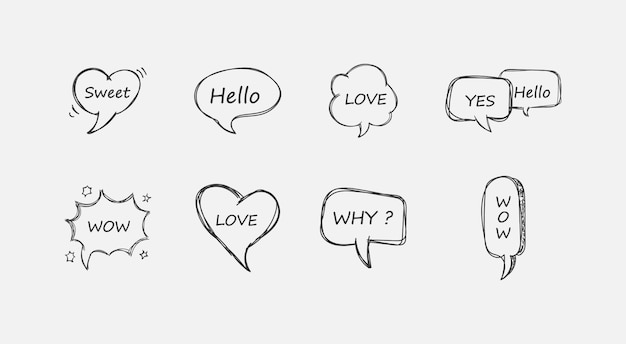 Insieme variopinto della bolla di discorso. sì, wow, amore, perché, fantastico, ciao, dolce. bolle ed elementi comici vuoti retrò con ombre di mezzitoni nere