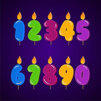 Insieme variopinto della raccolta della candela di compleanno di tutti gli elementi di numeri.