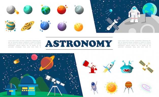 Insieme variopinto di elementi dell'universo piatto con diversi pianeti astronauta nello spazio cosmico satellite planetario telescopio astronave luna rover costellazione del sole