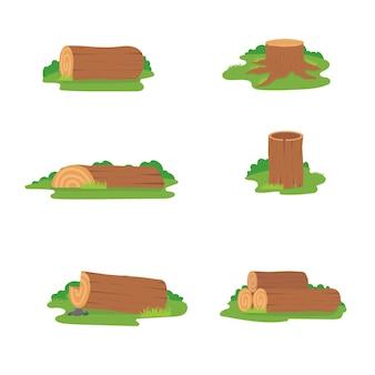 Insieme variopinto di progettazione dei ceppi di legno, illustrazione di legno dei tronchi su fondo bianco