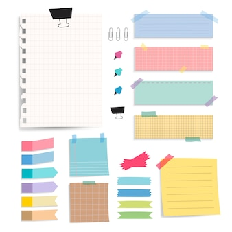 Insieme variopinto di vettore delle note della carta in bianco