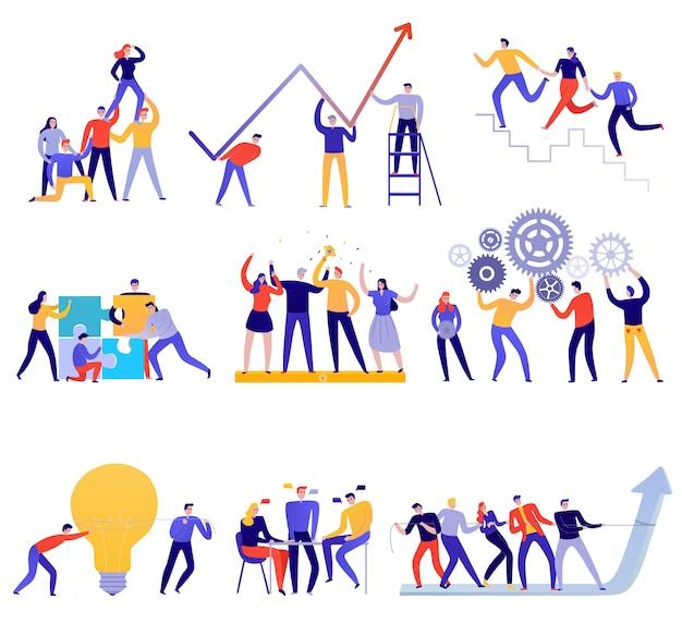 Insieme variopinto piano delle icone di lavoro di squadra con la gente che prova a raggiungere gli obiettivi isolati insieme su bianco