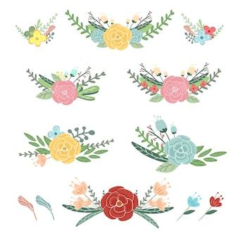 Insieme variopinto sveglio dell'illustrazione della raccolta dei fiori.