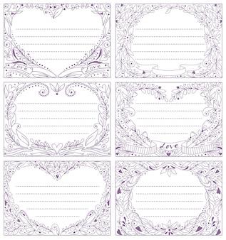 Insieme vettoriale con cornici di carta romantico con copyspace