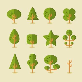 Insieme vettoriale di alberi per sfondi di gioco in stile piatto
