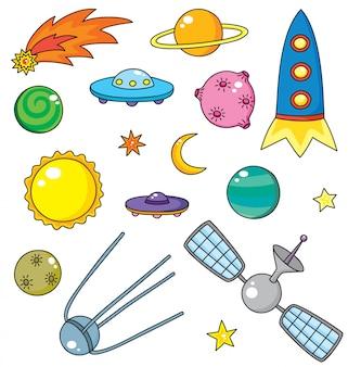 Insieme vettoriale di astronave, pianeti e stelle