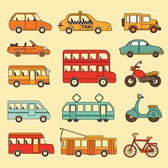 Insieme vettoriale di auto e autobus