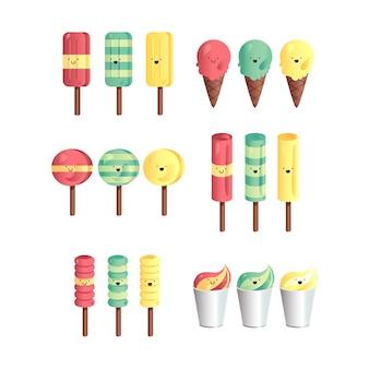 Insieme vettoriale di diversi e gelati sfumati