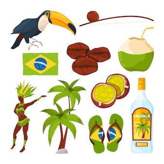 Insieme vettoriale di diversi simboli brasiliani