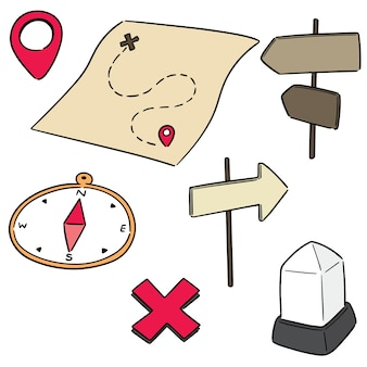Insieme vettoriale di mappa, bussola, direzione posta e pietra miliare