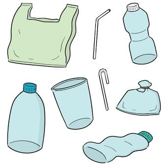 Insieme vettoriale di oggetti di plastica