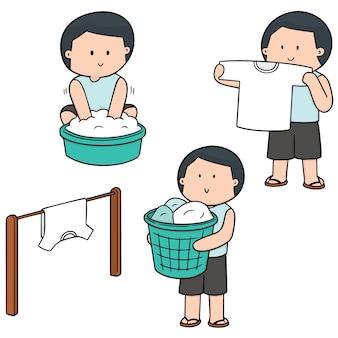 Insieme vettoriale di persone che lavano i vestiti