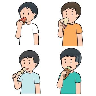 Insieme vettoriale di persone che mangiano