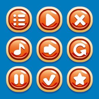 Insieme vettoriale di pulsanti per interfacce di gioco per giochi mobili