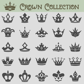 Insieme vettoriale di sagome di corona
