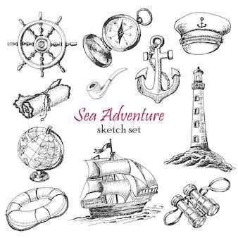 Insieme vettoriale di sea adventure