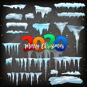 Insieme vettoriale di tappi di neve, mucchio, ghiaccioli, isolato, trasparente, ghiaccio, palla di neve e cumulo di neve.