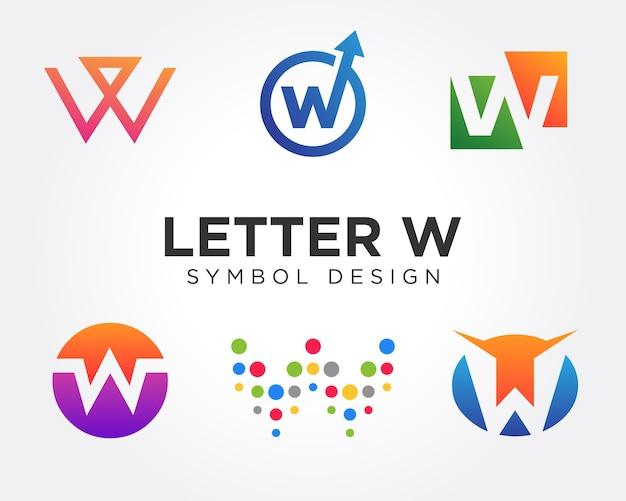 Insiemi di progettazione di simbolo della lettera w creativa