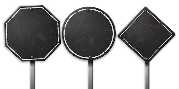 Insiemi di segnale stradale nero grezzo dell'annata