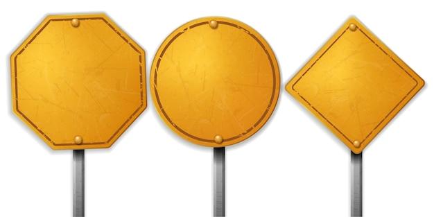 Insiemi di segno di strada giallo grezzo dell'annata