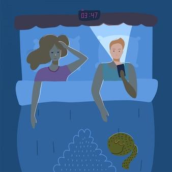 Insonne coppia di giovani. concetto di insonnia. vista dall'alto. uomo e donna sdraiata nel letto. illustrazione del personaggio in uno stile piatto.