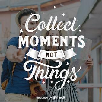 Inspirational lettering sfondo di testo con foto