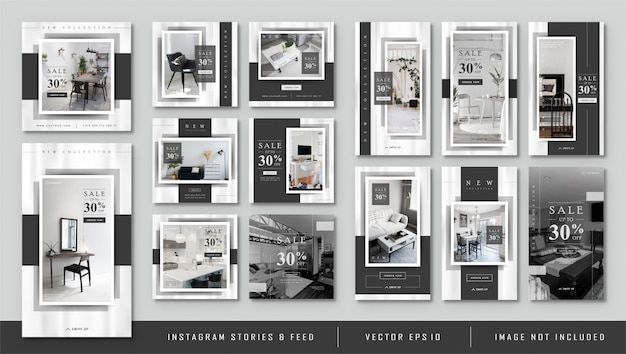 Instagram stories e feed post minimalista black furnitur template