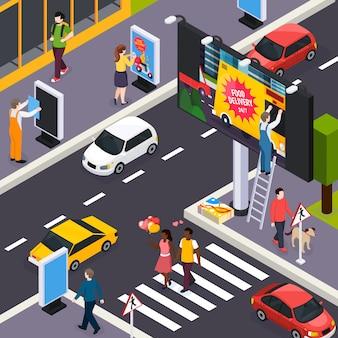 Installatori dell'agenzia di pubblicità che dispongono le insegne all'interno dell'illustrazione isometrica di giorno delle strade trasversali delle strade di città occupate