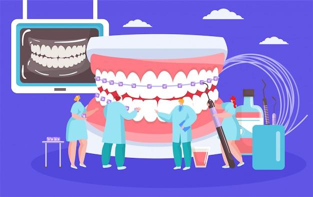 Installazione dell'illustrazione delle parentesi graffe dentali con le mini persone dei dentisti con il cocept ortodontico della bocca enorme.