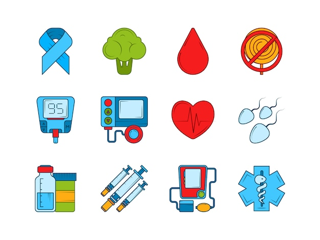 Insulina medica diabetica, siringa e altre icone mediche messe