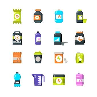 Integratori alimentari sportivi e icone piatte proteiche. bere energia e simboli di vettore barra di potenza