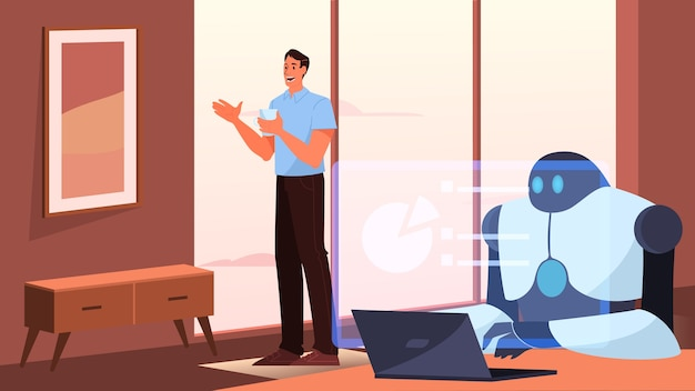 Intelligenza artificiale come parte della routine umana. robot personale domestico per l'assistenza alle persone. ai aiuta un uomo d'affari, il concetto di tecnologia del futuro.
