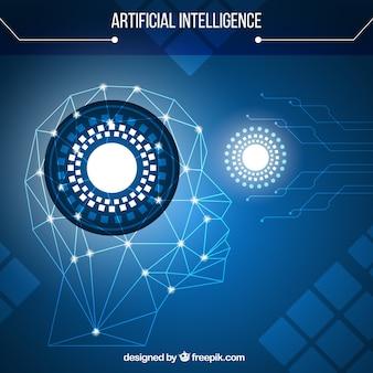 Intelligenza artificiale con sfondo blu