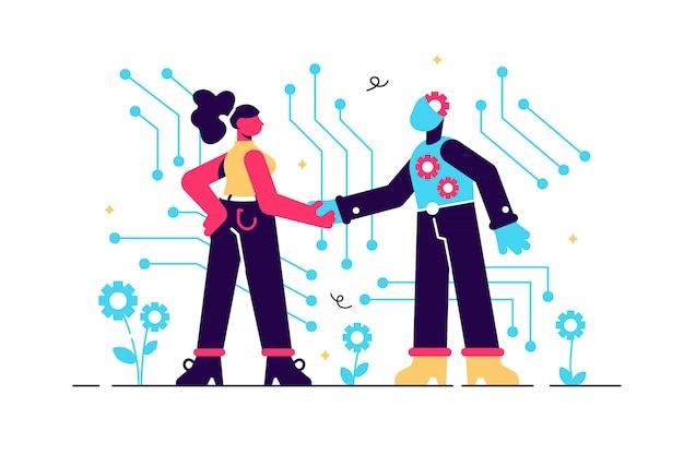 Intelligenza artificiale, intelligenza artificiale con alta tecnologia, illustrazione. simbolo di cooperazione futura, progresso tecnologico, innovazione. big data e vr, stretta di mano ai robot con umani, business, startup.