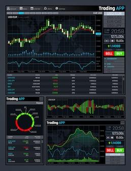 Interfaccia app di mercato forex con grafici di mercato finanziario aziendale e grafici di dati di economia globale