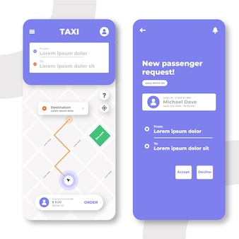 Interfaccia app taxi creativa