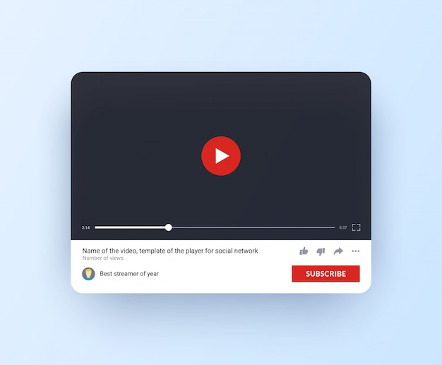Interfaccia del canale online con il pulsante iscriviti in stile piatto.
