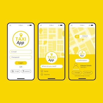 Interfaccia del concetto di app taxi