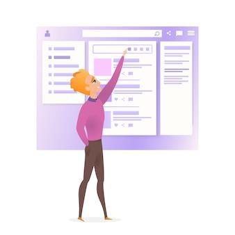 Interfaccia del sito web wireframe migliora il carattere