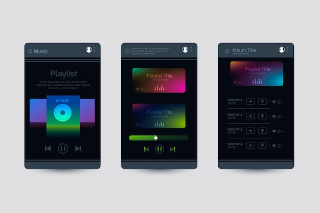 Interfaccia dell'app dark music player
