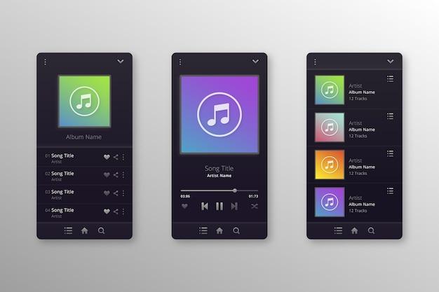 Interfaccia dell'app del lettore musicale creativo