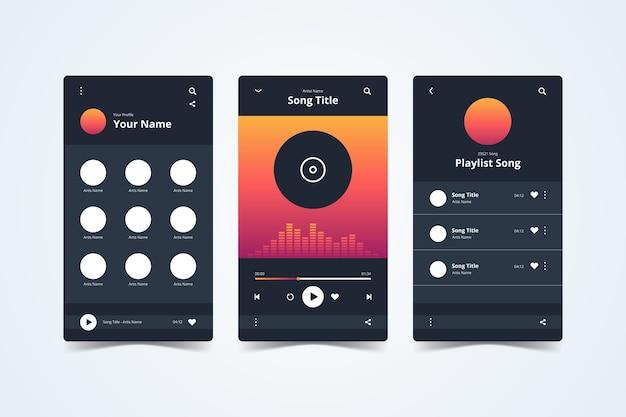 Interfaccia dell'app del lettore musicale su smartphone