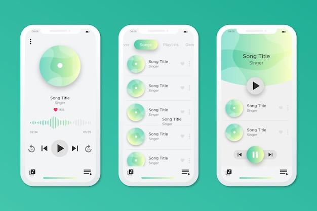 Interfaccia dell'app del lettore musicale