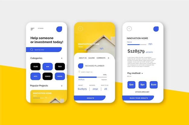 Interfaccia dell'app di crowdfunding